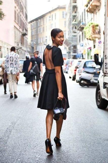 With black high heels