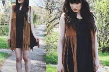 With black mini dress and flat sandals