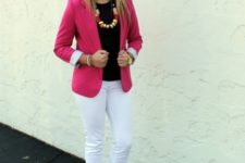 With black top, pink blazer and white pants