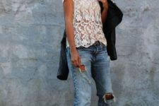 shirt and boyfriend jeans look