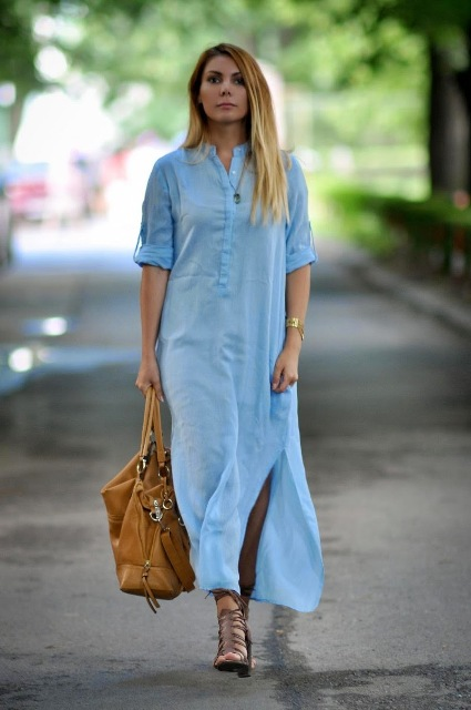 With brown leather bag and beige sandals