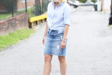 With button down shirt and striped sandals