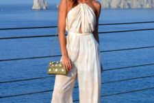 With chain strap mini bag and platform sandals