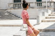 With checked mini dress and white shoes