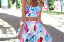 With colorful skirt