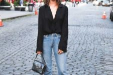 With crop jeans, silver shoes and mini bag