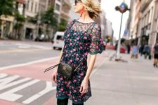 spring look with a floral shirt