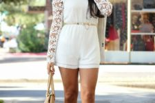 With cutout boots and beige bag