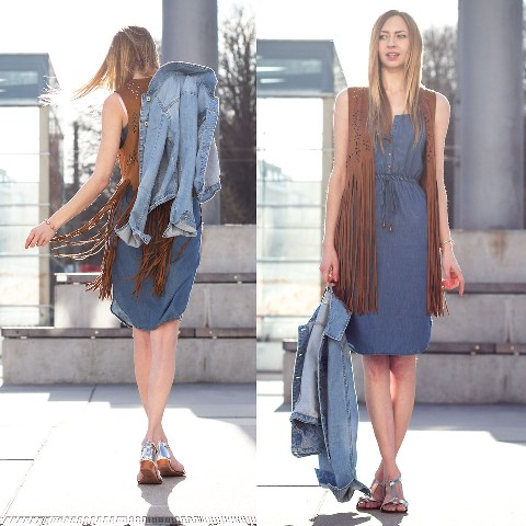With denim dress, denim jacket and silver sandals