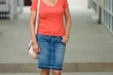 With denim knee-length skirt, t-shirt and white bag