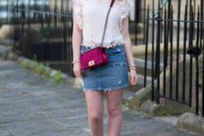 With denim mini skirt, marsala bag and lace up shoes