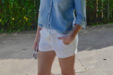 With denim shirt and white shorts