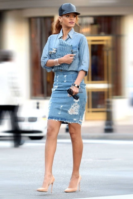With denim shirt, leather cap, clutch and beige pumps