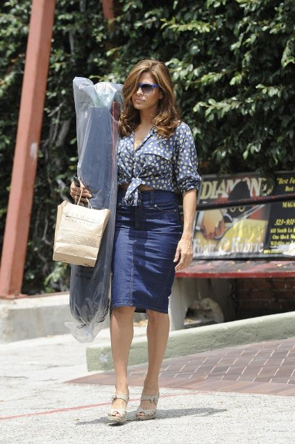 With denim skirt and white shoes