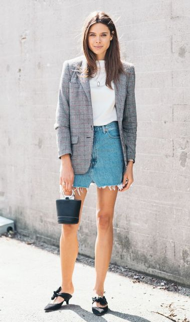 With denim skirt, white shirt, checked blazer and mini bag