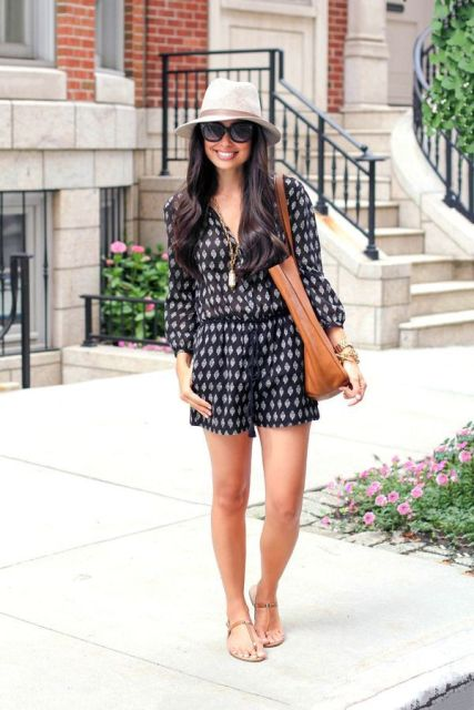 With flat sandals, brown leather tote and beige hat
