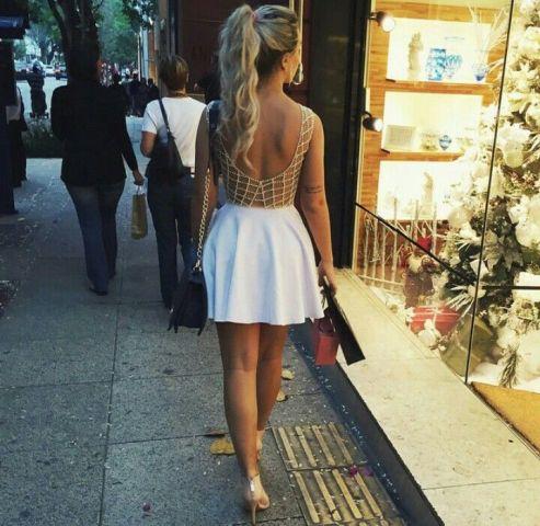 summer look with golden heels
