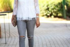 With gray jeans, gray heels and leopard clutch