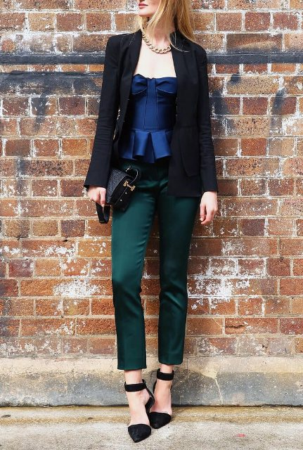 With green pants, black blazer, black bag and ankle strap shoes