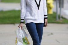 spring look with white sneakers