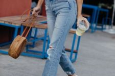 With jeans, round bag and brown flat sandals
