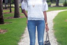 With jeans, tote and brown suede sandals