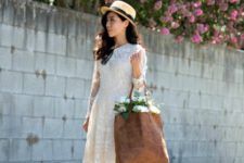 With lace dress, hat and flat shoes