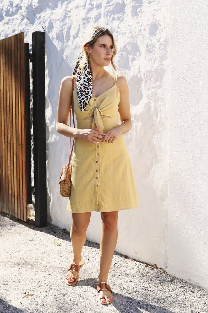 summer look with a straw bag