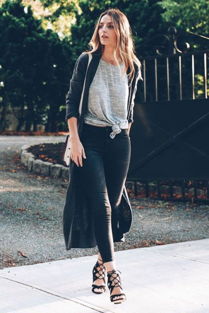With long cardigan, leggings, white bag and lace up sandals