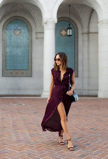 With marsala maxi dress and black bag