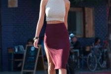 stylish look with a marsala skirt