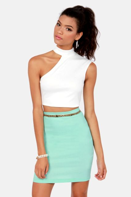 With mint mini skirt