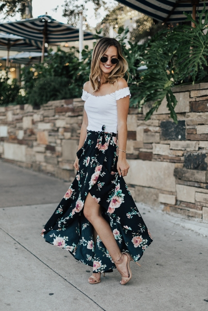 With off the shoulder top and beige high heels
