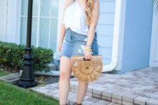 With one shoulder top, platform sandals and straw bag