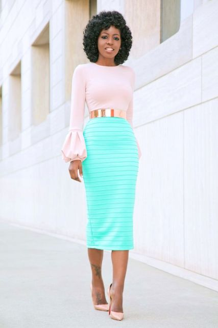 With pale pink blouse, midi skirt and pale pink pumps