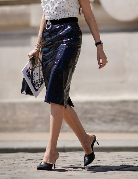 Picture Of With Patent Leather Knee Length Skirt And Blouse