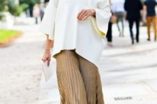With pleated midi skirt and printed platform shoes