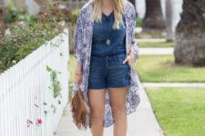 With printed cardigan, beige shoes and fringe bag