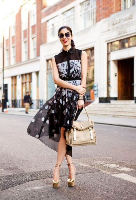 With printed dress and beige bag