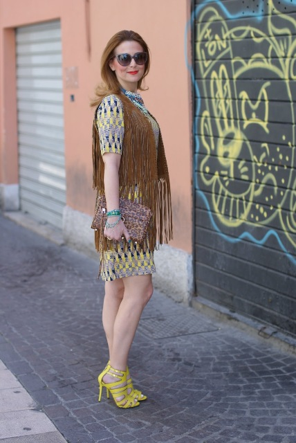 With printed dress, leopard clutch and yellow sandals