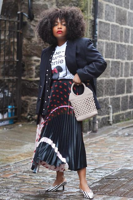 With printed pleated midi skirt, t shirt, blazer and small bag
