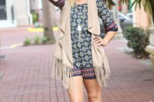 With printed romper and lace up sandals