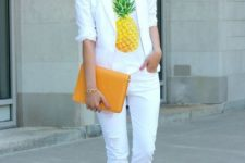 an outfit with a cool printed white t-shirt