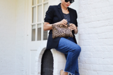 With shirt, jeans, leopard clutch and black blazer
