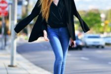 With skinny jeans, black blazer and shoes