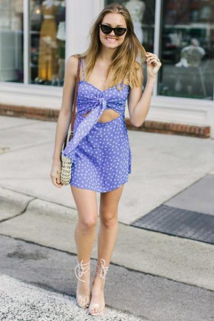 With small bag and lace up sandals
