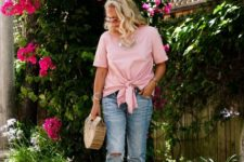 With straight jeans, platform sandals and straw bag