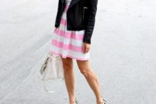 spring layered look with a stripped dress