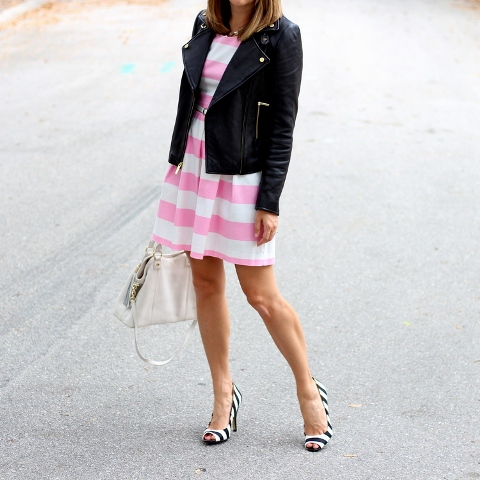 With striped dress, white bag and black jacket