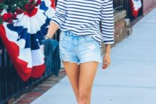 With striped shirt and flat sandals